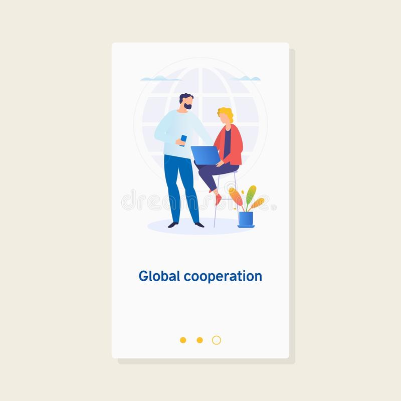 Commercio globale Cooperazione globale Di Businesspersons del lavoro illustrazione di concetto di affari insieme illustrazione di stock