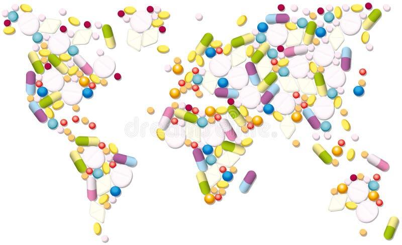 Commercio globale delle pillole dei prodotti farmaceutici illustrazione di stock