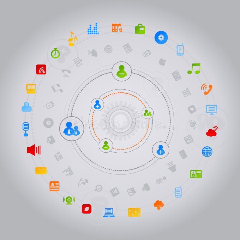 Commercio globale un circle2 illustrazione vettoriale
