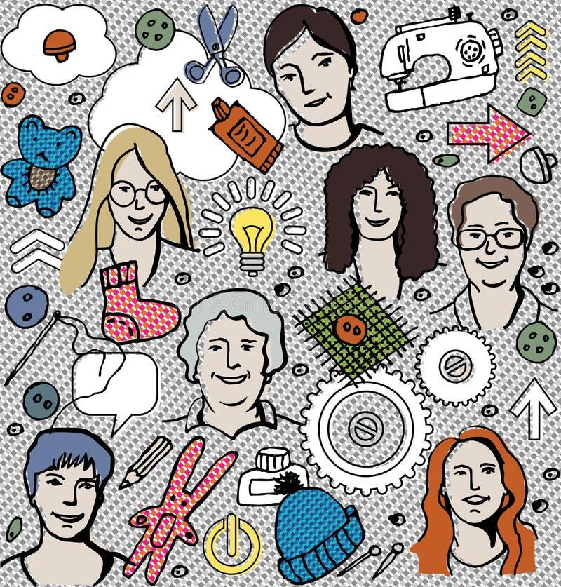 Commercio Handmade della donna royalty illustrazione gratis