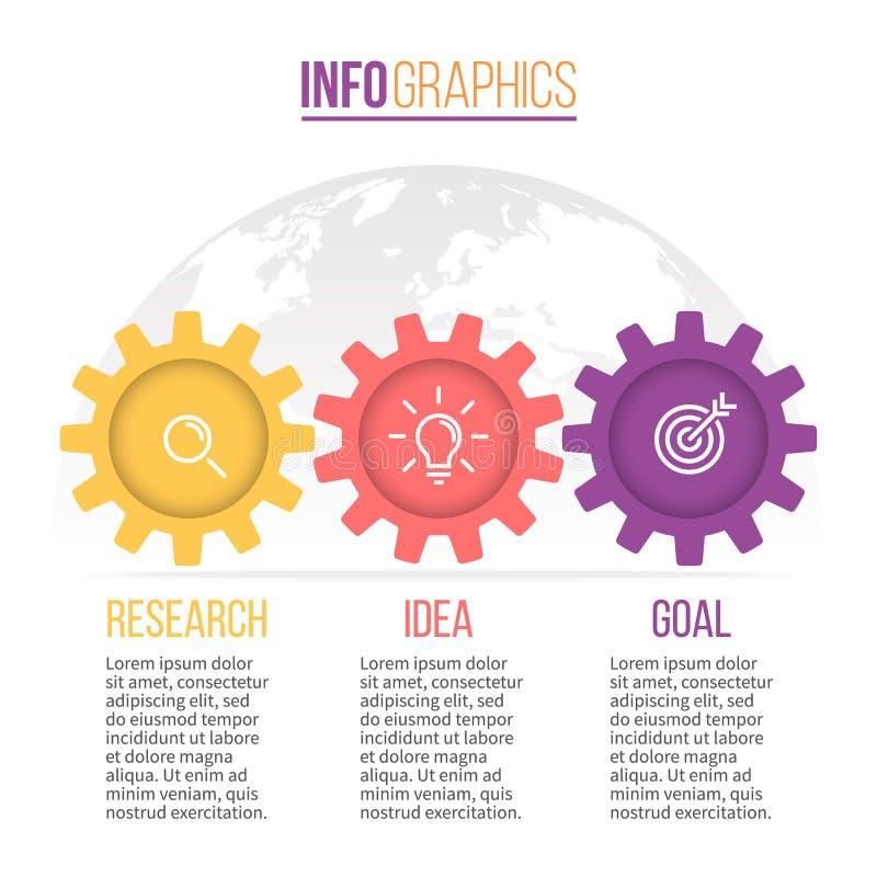 Commercio Infographics Cronologia con 3 punti, ingranaggi, ruote dentate illustrazione vettoriale