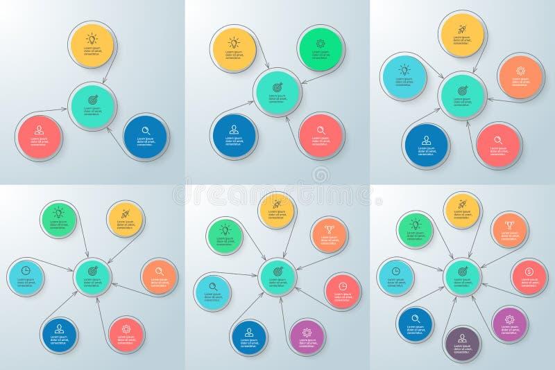 Commercio Infographics Diagramma con 3 - 8 parti illustrazione vettoriale