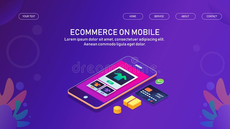 Commercio mobile, rappresentazione del prodotto di commercio elettronico sul telefono cellulare, acquisto online, e-pagamento via illustrazione di stock