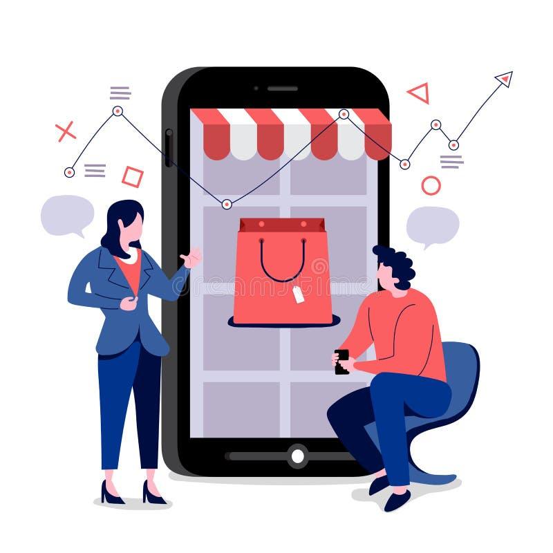 Commercio online del cellulare di acquisto illustrazione di stock