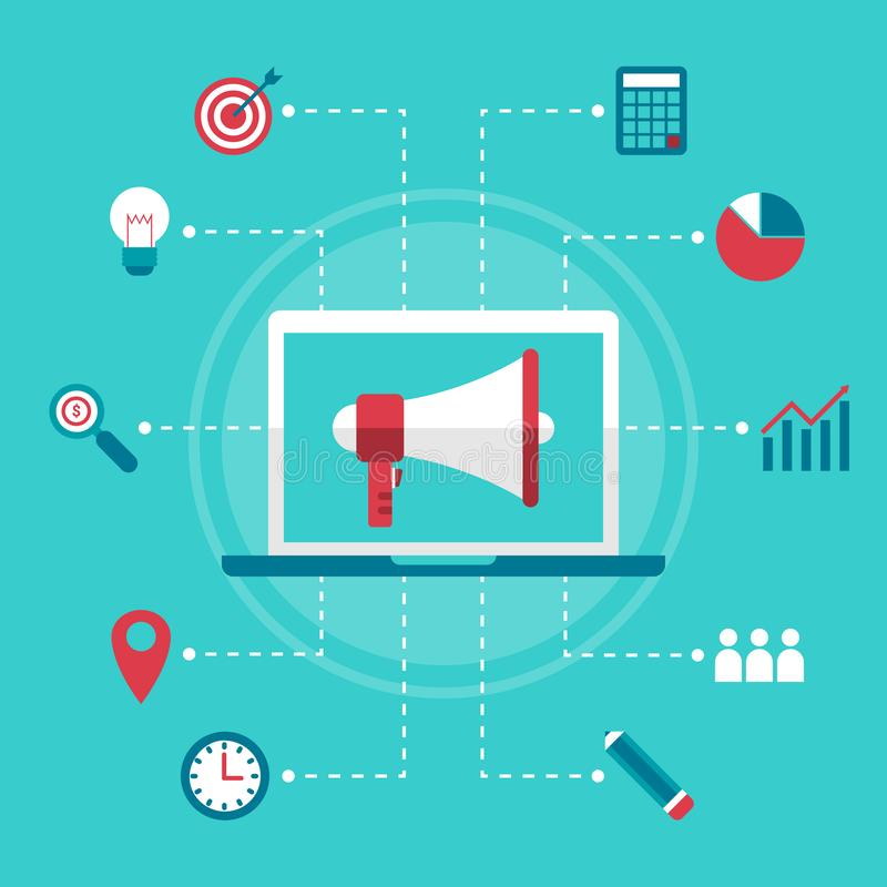Commercio online digitale di progettazione di affari del megafono piano di vendita illustrazione di stock
