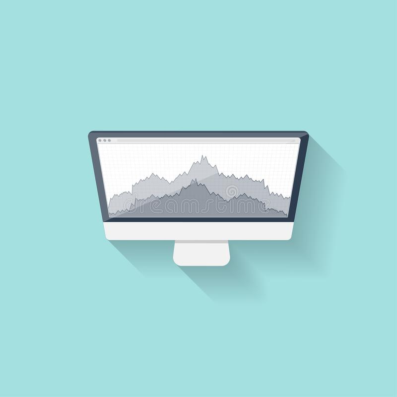 Commercio online Forex Stile piano Investendo in Internet Illustrazione di vettore Notizie del mercato illustrazione di stock