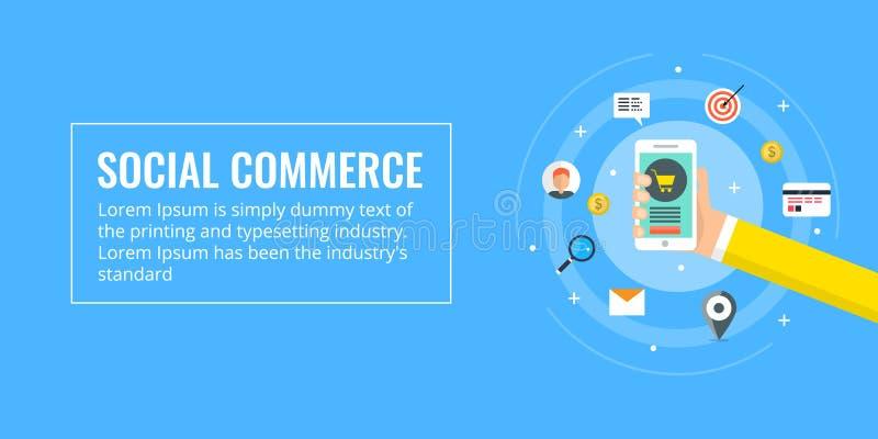 Commercio sociale, acquisto mobile, e-carretto, acquisto online e concetto di pagamento Illustrazione piana di vettore di progett royalty illustrazione gratis