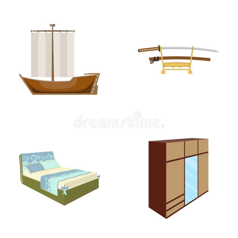 Commercio, storia, tessuti e l'altra icona di web dello stile del fumetto porta, mobilia, affare, icone nella raccolta dell'insie illustrazione di stock