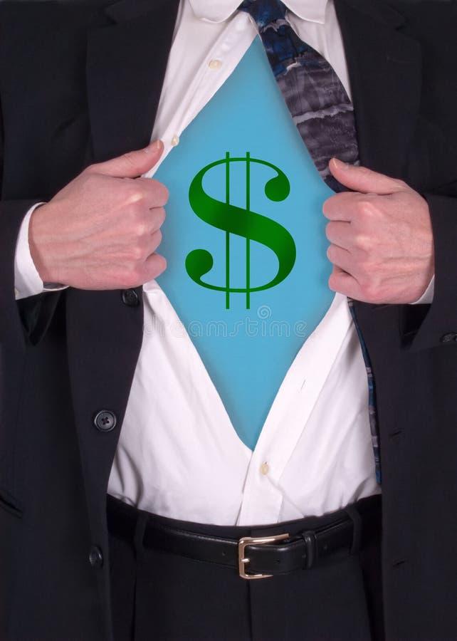 Commercio, uomo d'affari, potenza di soldi ed economia fotografia stock