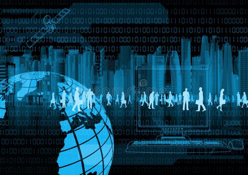 Commercio virtuale e gente virtuale illustrazione di stock