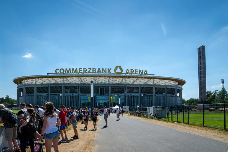 Commerzbank Arena and football fans - home stadium of football club Eintracht Frankfurt. Frankfurt, Germany- July 2019: View of Commerzbank Arena and football stock images