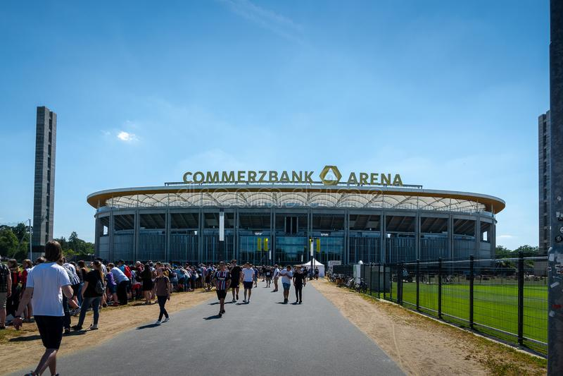 Commerzbank Arena and football fans - home stadium of football club Eintracht Frankfurt. Frankfurt, Germany- July 2019: View of Commerzbank Arena and football stock photos