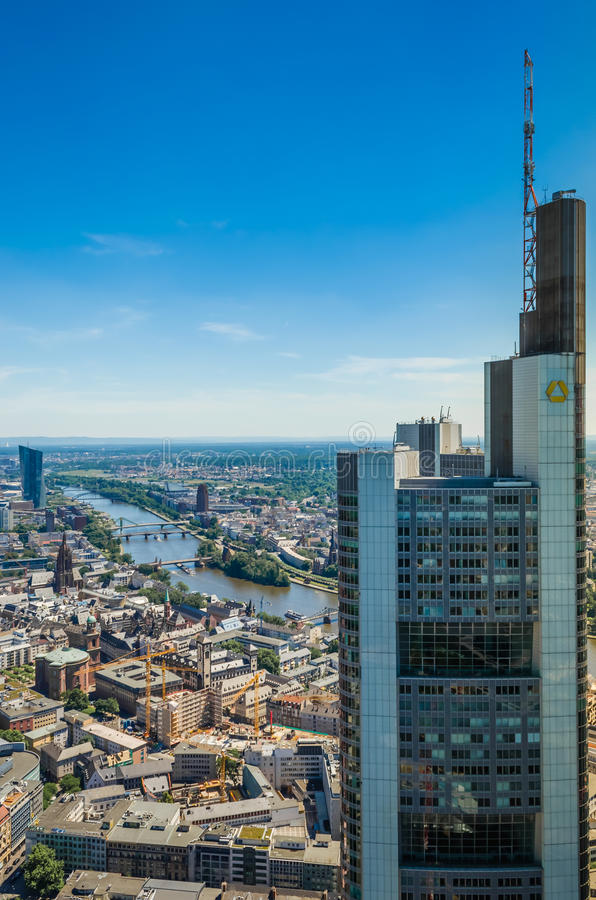 Aerial View of Commerzbank Tower in Frankfurt royalty free stock photo