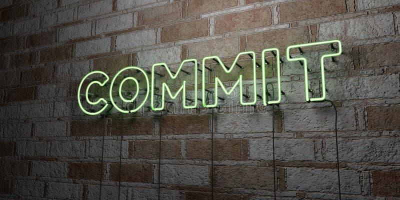 COMMETTEZ - Enseigne au néon rougeoyant sur le mur de maçonnerie - 3D a rendu l'illustration courante gratuite de redevance illustration de vecteur