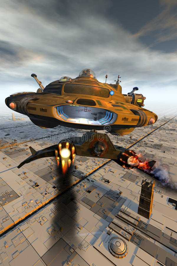 Comming in Hot. A damaged space fighter makes a desparate landing on the motherships landing bay stock illustration