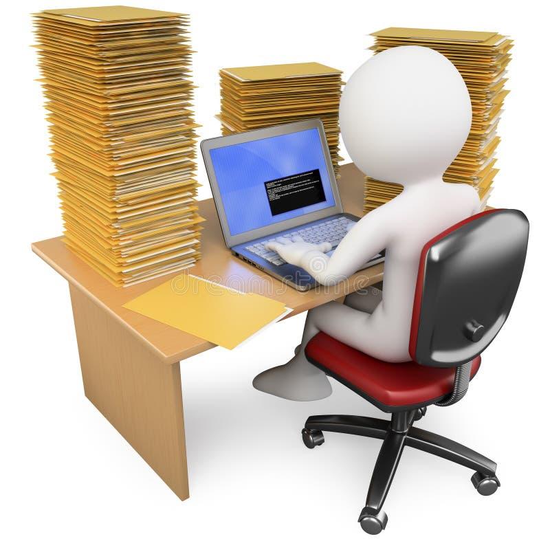 commis 3D travaillant dans le bureau avec beaucoup pour faire illustration stock