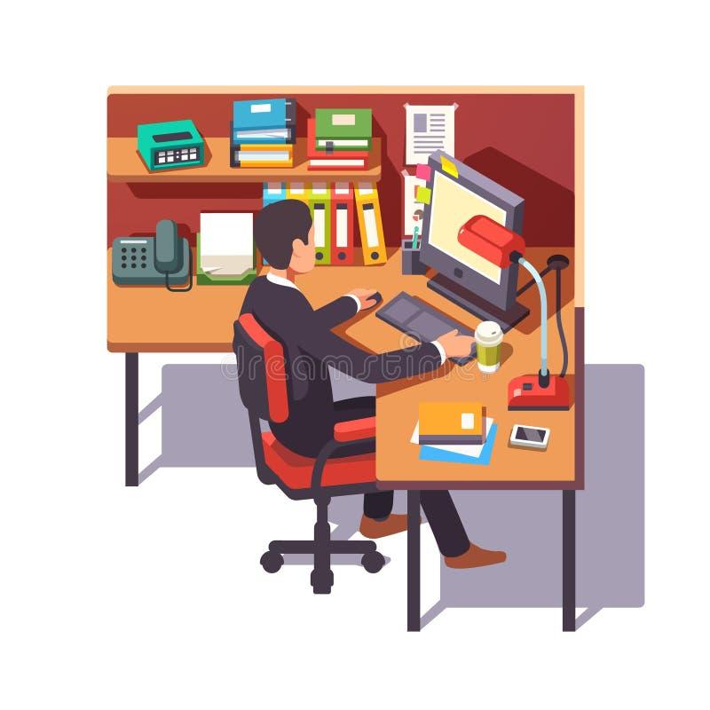 Commis d'entreprise de travailleur réalisant son travail illustration libre de droits