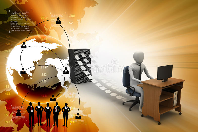 commis 3d travaillant dans le bureau illustration libre de droits