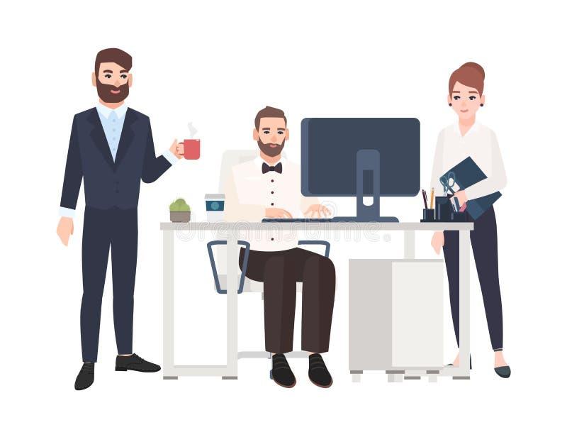Commis ou collègues passant le temps au bureau ensemble, travaillant à l'ordinateur, café potable Personnages de dessin animé d'i illustration stock