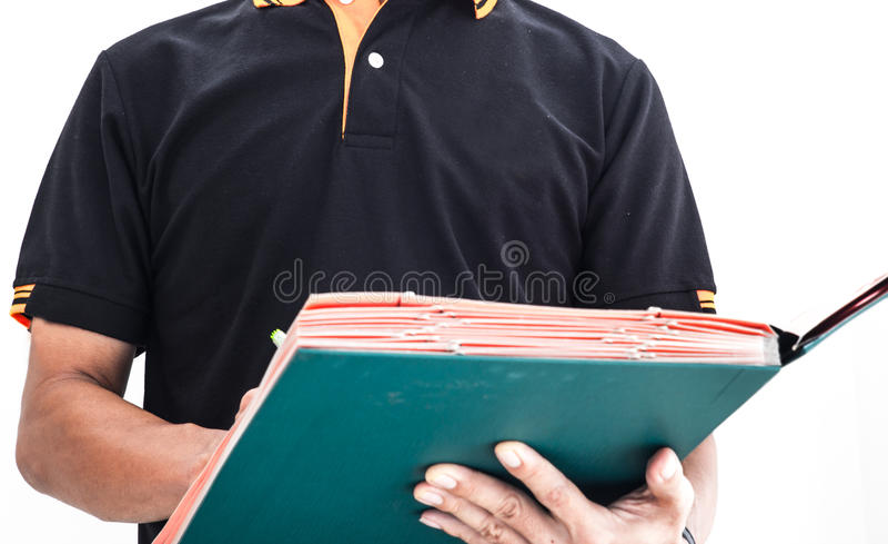 Commissaire aux comptes vérifiant la documentation image libre de droits