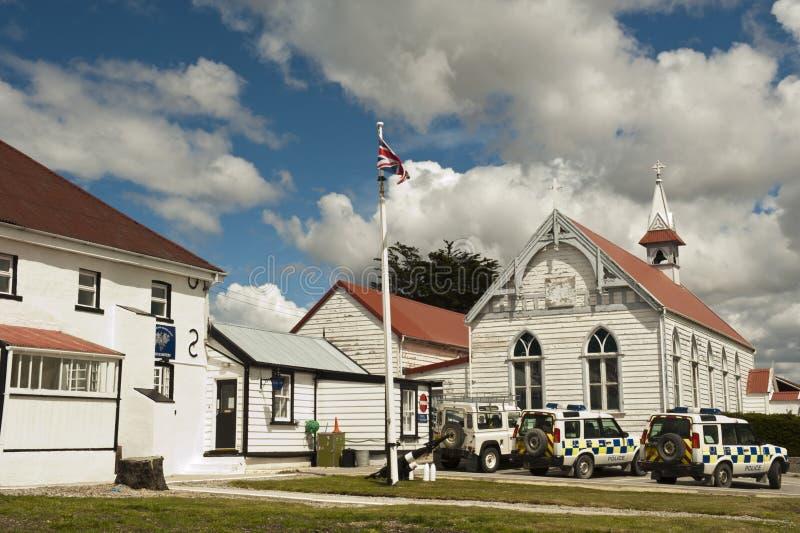 Commissariat de police dans Stanley, les Malouines photographie stock libre de droits