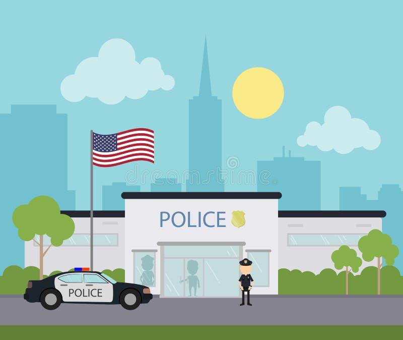 Commissariato di polizia della città royalty illustrazione gratis