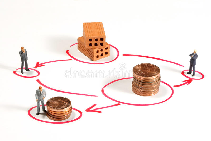 Commission metaphor. Commission on a commecial transaction stock photos