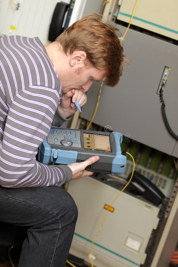 Commissioning of fibre optic royalty free stock photography
