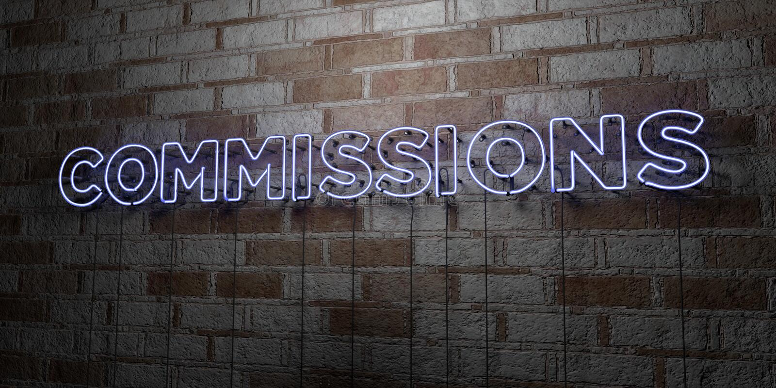 COMMISSIONS - Glowing Neon Sign on stonework wall - 3D rendered royalty free stock illustration. Can be used for online banner ads and direct mailers royalty free illustration