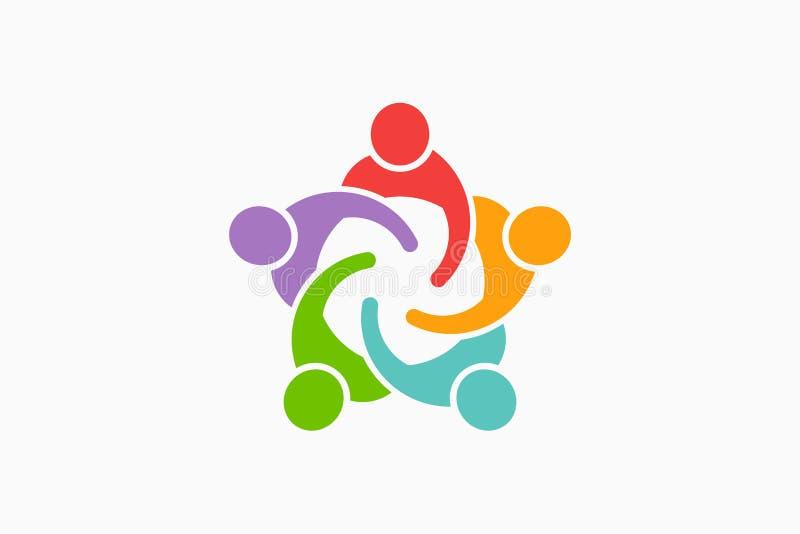 People Reunion Logo. Vector Illustration. Commited People reunited together. Teamwork concept stock illustration