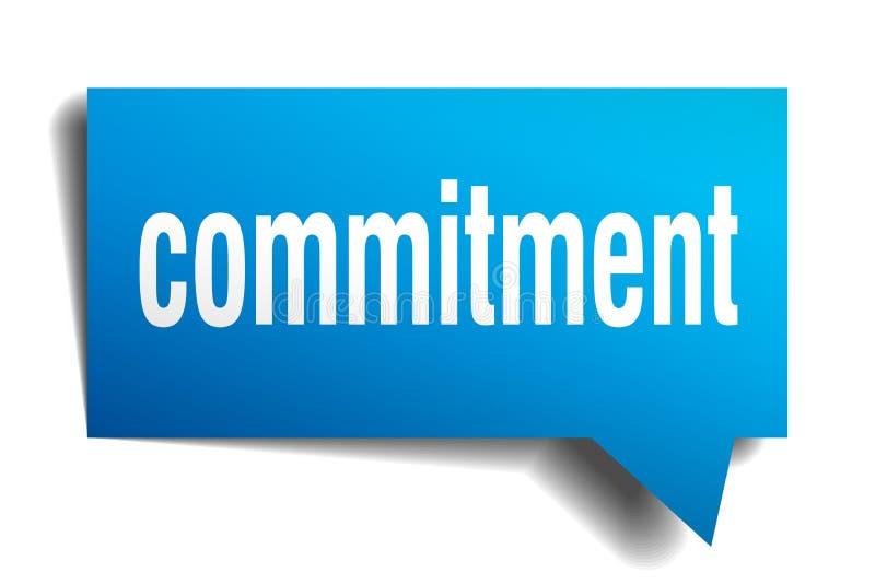 Commitment blue 3d speech bubble stock illustration