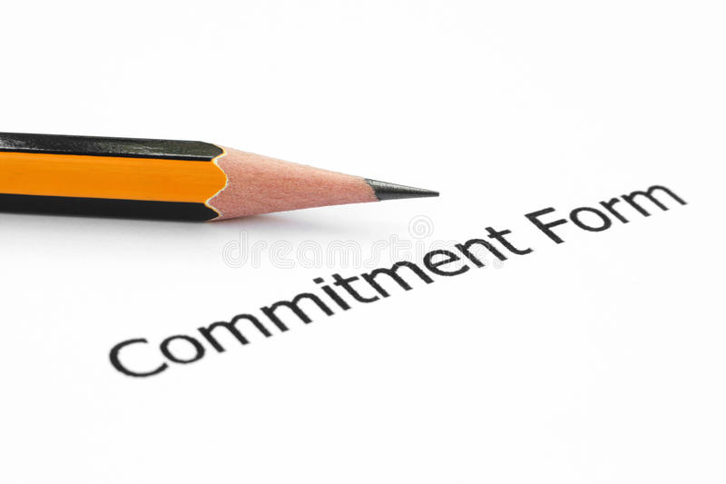 Commitment form stock photos