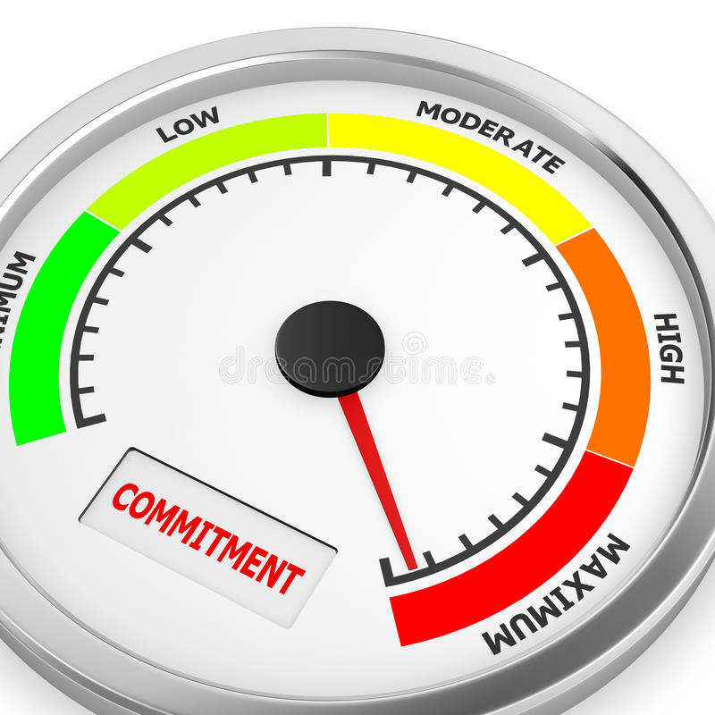 Commitment. Level to maximum conceptual meter, 3d rendering royalty free illustration