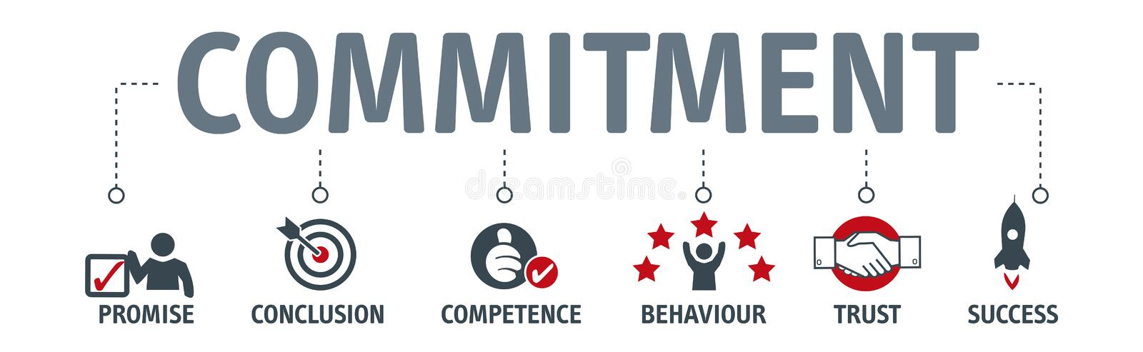 Commitment, trust and agreement concept stock illustration