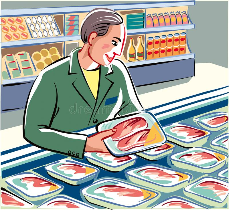 Committed warehouseman at work in a store. Committed warehouseman, has neatly the new packs freshly prepared, chicken breast and slices of meat in a royalty free illustration