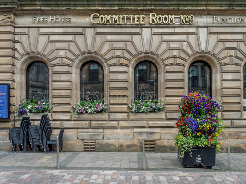 Committee Room No. 9 pub and freehouse. GLASGOW, SCOTLAND - JULY 21: Committee Room No. 9 pub and freehouse on July 21, 2017 in Glasgow, Scotland. The Piper Bar royalty free stock photography