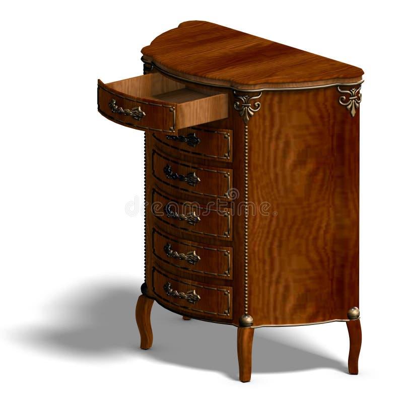 Commode en bois avec des tiroirs de Louis XV. illustration stock