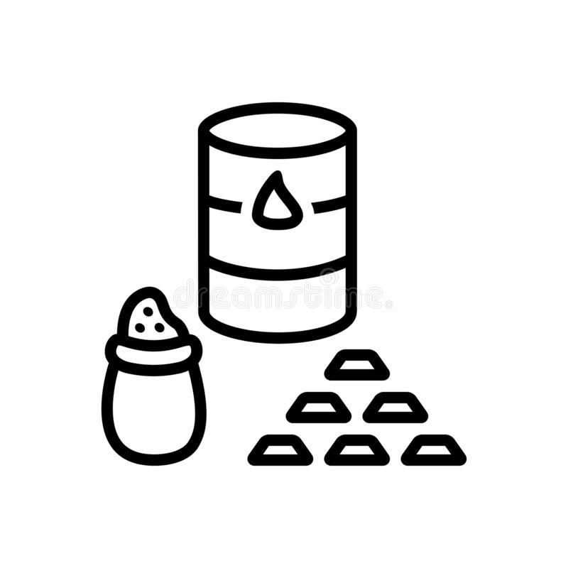 Black solid icon for Commodities, crude and market. Black solid icon for  commodities, gold, price, logo, crude,  trade and market stock illustration