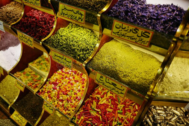 Bazaar in Iran. Commodities sold in Bazaar in Iran royalty free stock images