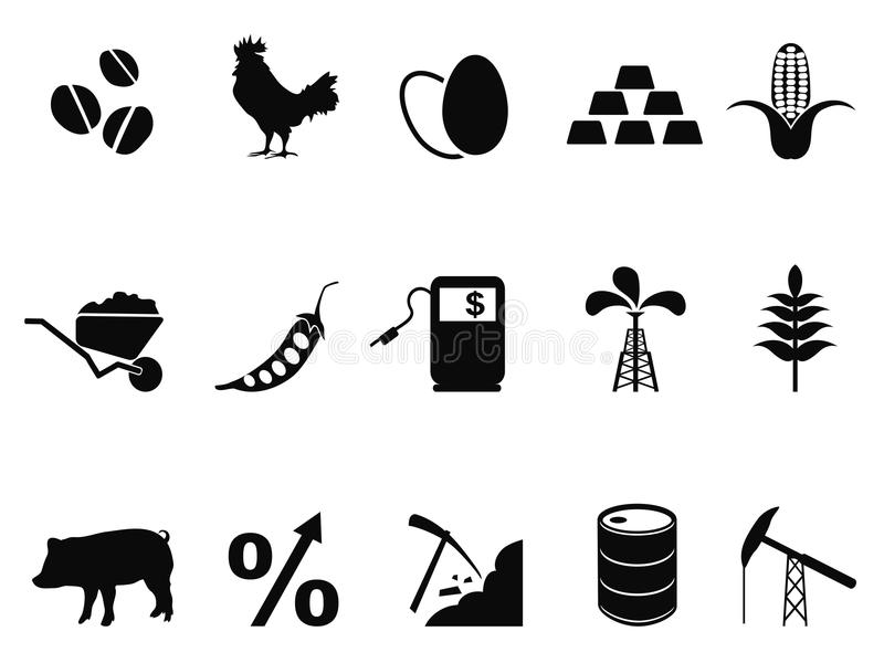 Commodities trading market icons set stock illustration