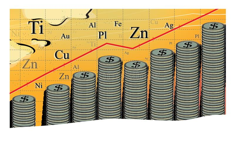 Commodity income, Abstract graph of the growth in the cost of metals. A large stack of coins with a dollar sign vector illustration