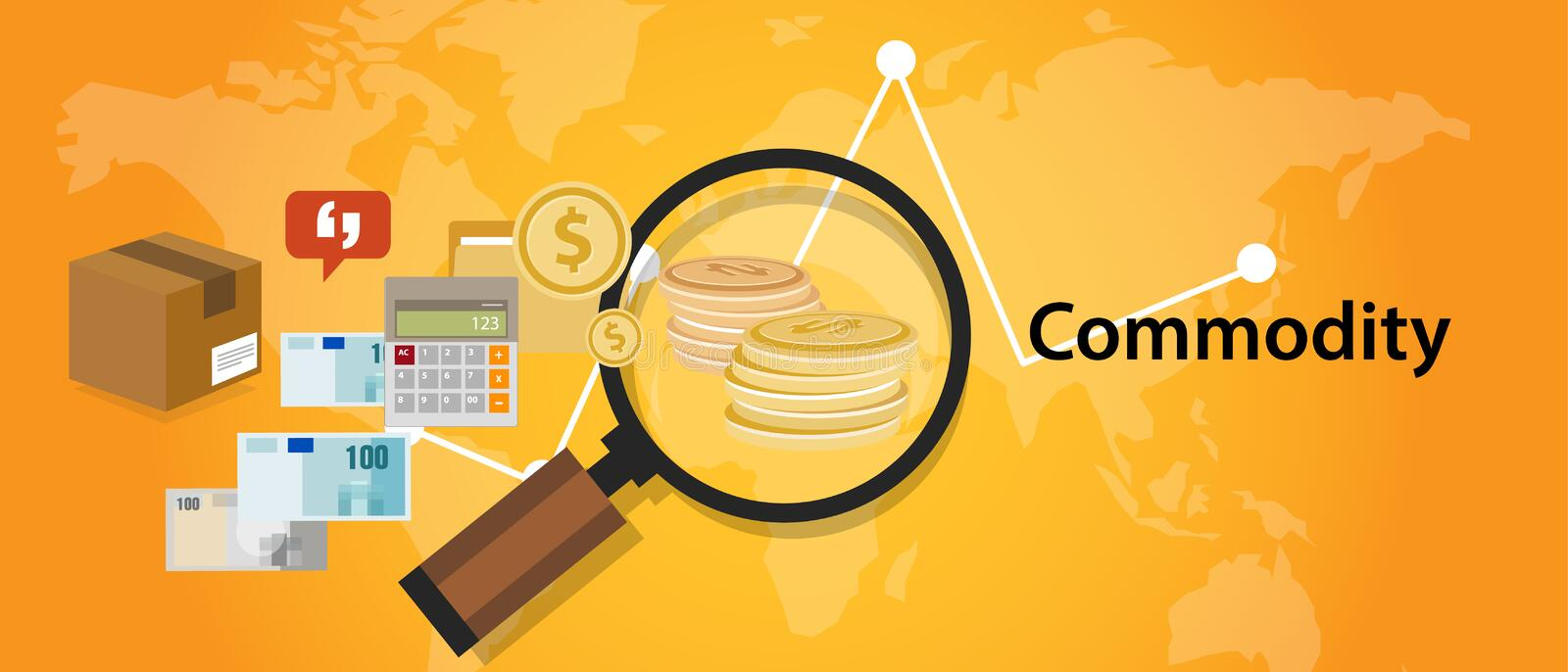 Commodity trading market investment concept in economy royalty free illustration