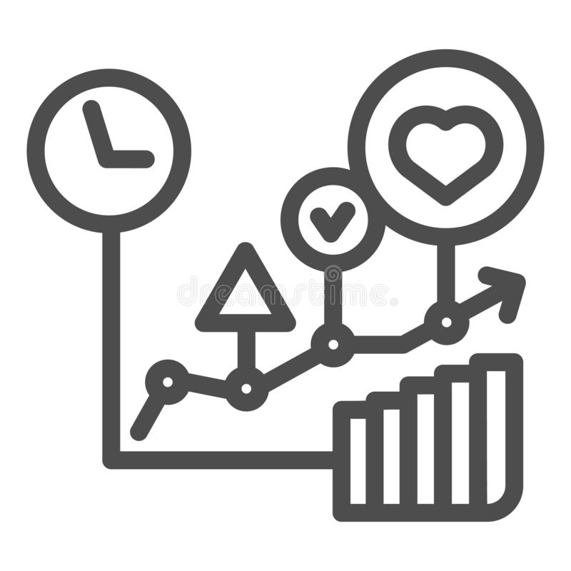 Commodity turnover line icon. Business graph vector illustration isolated on white. Trade schedule outline style design royalty free illustration