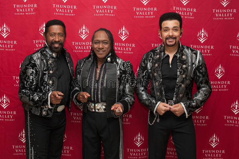 The Commodores. LINCOLN, CA – February 14: (LR) William King. Walter Orange and J.D. Nicholas of The Commodores pose for meet and greet photos at Thunder stock photos