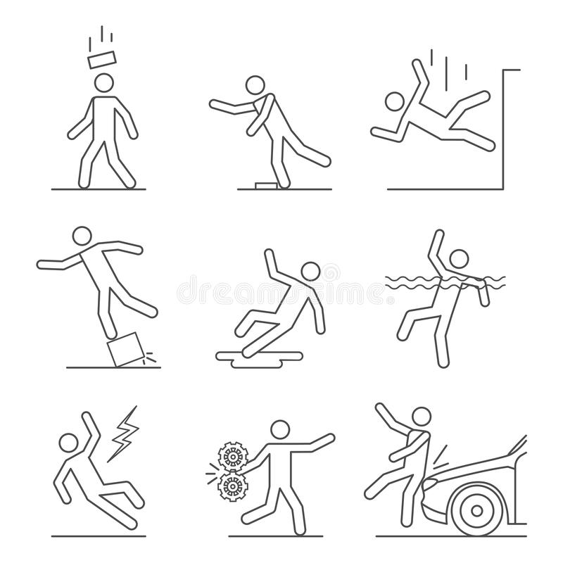 Common Accidents Signs Black Thin Line Icon Set. Vector stock illustration