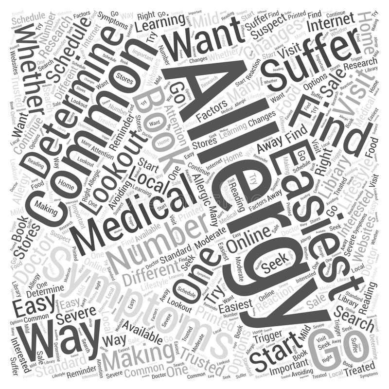 Common Allergy Symptoms word cloud concept word cloud concept vector background. Text royalty free illustration