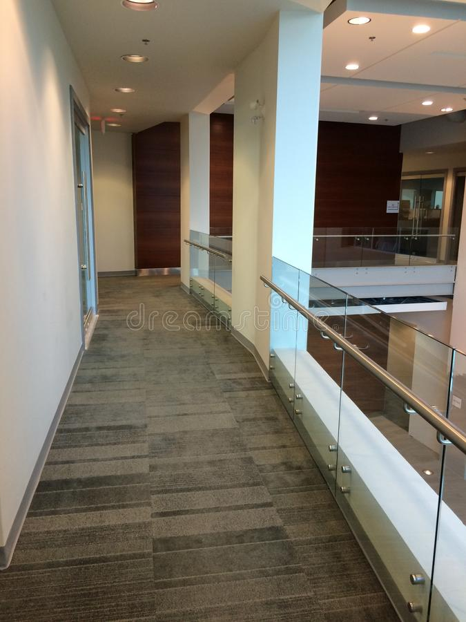 Common area hall way commercial building stock image