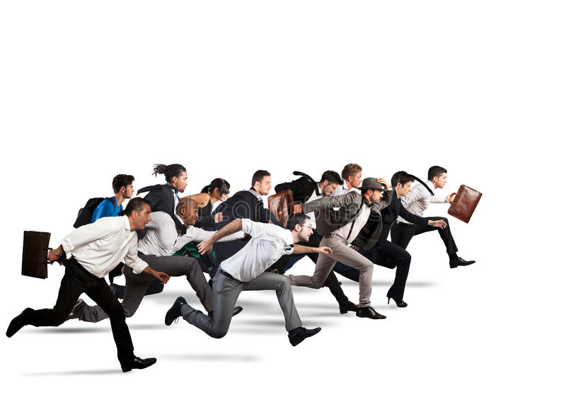 Common business goal. Business people run together in the same direction stock images