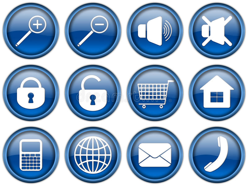 Common buttons set royalty free illustration