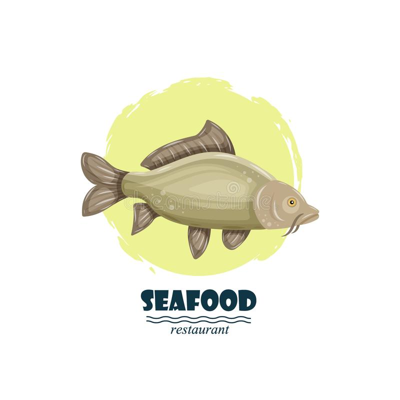 Common carp seafood restaurant label with splash and text isolated on white background. Sea water animal icon. Design stock illustration
